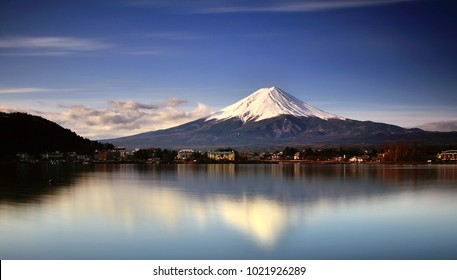 view of mount fuji reflection from lake kawaguchi during sunrise
