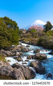 View of Mount Fuji with Uruigawa River at Ryuganbuchi, Shizuoka, Japan.