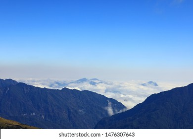 The view from Mount Hehuan (Hehuanshan) that is a 3416-metre-high mountain in Central Taiwan. The peak lies on the borders of Nantou and Hualien counties and is located within Taroko National Park.