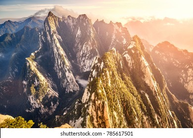 View from Mount Hua (Huashan) South Peak, one of the most popular travel destinations in China at sunset, Shaanxi Province.
