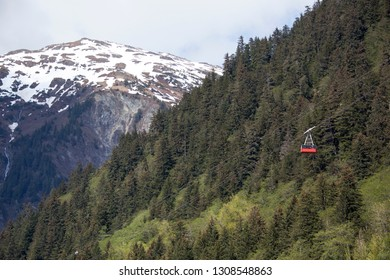 The view of Mount Juneau and a cable car going down to Juneau downtown (Alaska).