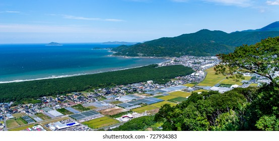 view from the mount kagami above nijinomatsubara pine forest. Karatsu, Japan
