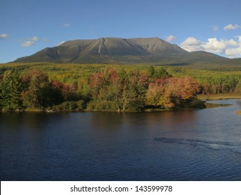 View of Mount Katahdin the northern terminus of the Appalachian Trail