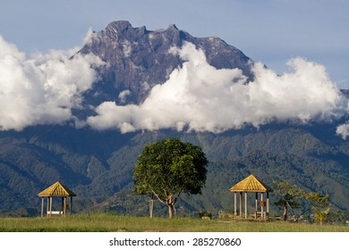 View of Mount Kinabalu (4096 m), the highest mountain in Southeast Asia. Mount Kinabalu National Park, Sabah, Malaysia. It was struck by an earthquake on June 5, 2015, killing at least 16 climbers.