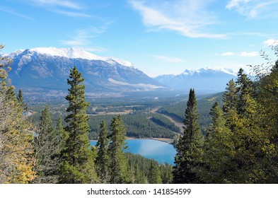 View of Mount Lady MacDonald and Grassi Lakes Alberta Canada