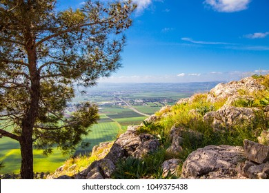 View from the Mount of the Leap of the Lord to the Jezreel Valley. The Jezreel Valley is a large fertile plain and inland valley south of the Lower Galilee region in Israel.