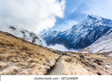 View of Mount Machapuchare from Nepali meaning Fishtail Mountain, Annapurna Conservation Area, Himalaya mountains, Nepal.