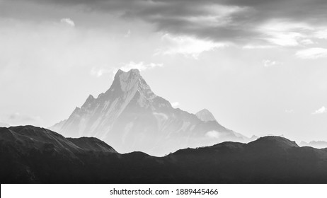 View of Mount Machapuchare, from Nepali meaning Fishtail Mountain, Annapurna Conservation Area, Himalaya, Nepal, black and white image