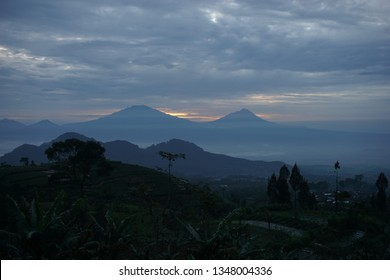 the view of Mount Merapi and Mount Merbabu in the morning