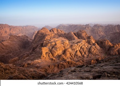 view from Mount Moses at Mount Sinai at dawn