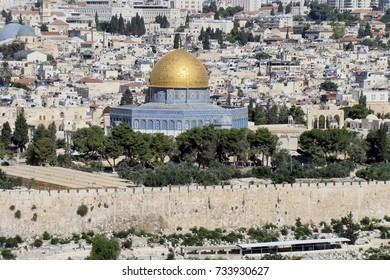 View of the mount of Olives on the dome of the rock on the Temple Mount in Jerusalem