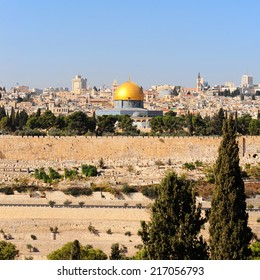 View from the Mount of Olives to Walls of the Old City of Jerusalem and the Dome of the Rock