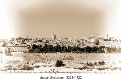 View from the Mount Olives to Walls of the Old City of Jerusalem and the Dome of the Rock, Retro Image Filtered Style