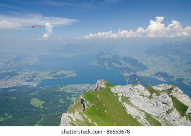 View from Mount Pilatus over Lake of Lucerne