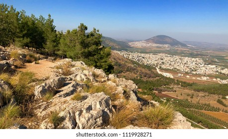 View from the Mount Precipice in Nazareth with Mount Tabor in the  background, Israel