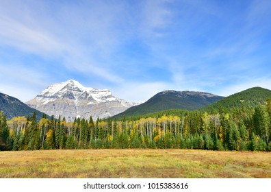 View of Mount Robson,the highest mountain in the Canadian Rockies, in British Columbia