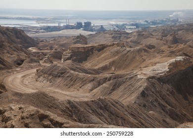 View from Mount Sodom with Dead Sea Works Plant in the background, Israel