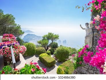 View from mount Solaro of Capri island at summer day, Italy