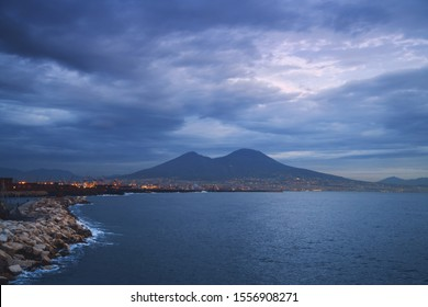 View of Mount Vesuvio volcano, and the bay in Naples, Italy