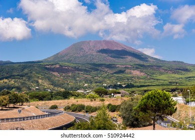 View of Mount Vesuvius located on the Gulf of Naples in Campania, Italy