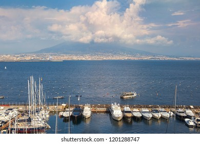 view of Mount Vesuvius and marina of Naples in Gulf of Naples, Naples, Italy