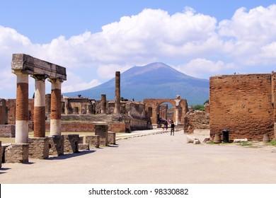 View of Mount Vesuvius through the ruins of the Forum at Pompeii, Italy
