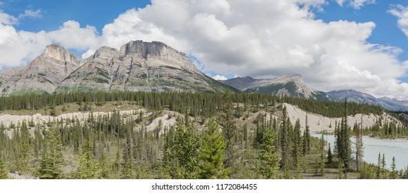 view of Mount Wilson from Saskatchewan River Crossing along the icefields parkway Alberta Canada