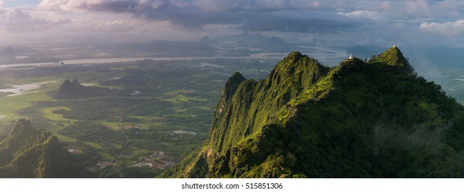 View from Mount Zwegabin on the country side of Hpa An area . Hpa-An ,Myanmar