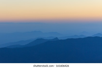 view of mountain after the sunset