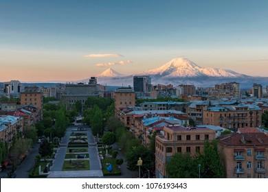 view of the mountain Ararat from cascade complex ,Yerevan Armenia