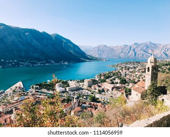 View from the mountain to the bay of Kotor, Montenegro