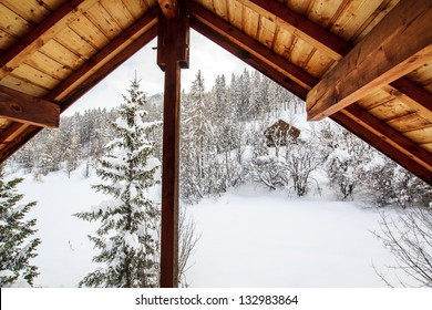 View from the mountain chalet window / Haute Savoie, France - view from the wooden ski chalet window