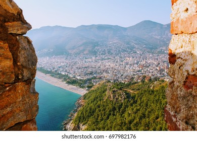 View from the mountain to the city of Alanya, Turkey.