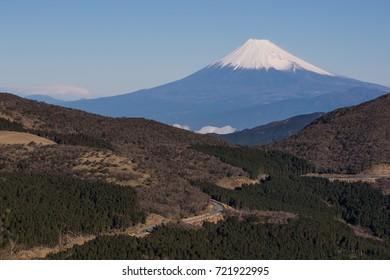 View of Mountain Fuji with high mountain in winter season at Izu city , Shizuoka Prefecture.