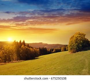 View at mountain Grosser Osser in the National park Sumava, Czech Republic. Summer landscape at sunset.