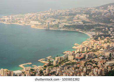 View from mountain Harissa to Jounieh