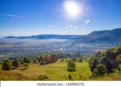 View from mountain Hoernle, Bissingen Teck, swabian alps, Germany