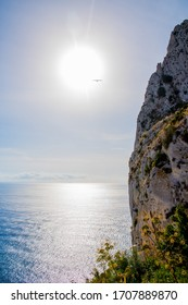 View from the mountain Ifach above Calpe into the morning sun, Costa Blanca, Spain