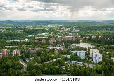 View from mountain to Kuopio and lakes on summer day, Northern Savonia, Finland