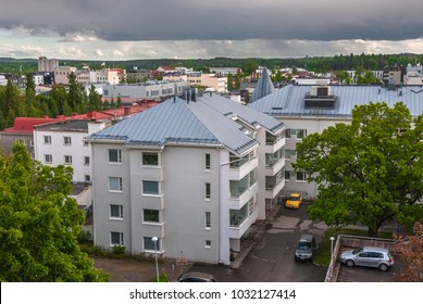 View from mountain to Kuopio on rainy summer day, Northern Savonia, Finland