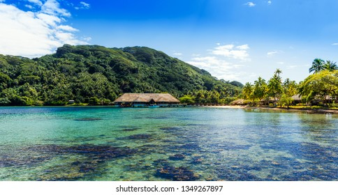 View of the mountain in the lagoon Huahine, French Polynesia
