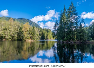 View at Mountain Lake with Blue Sky in British Columbia, Canada.