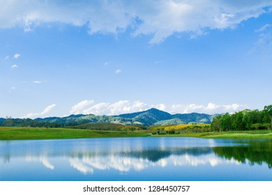 View of the mountain and lake landscape.Copy space for text.Reflection of the lake.