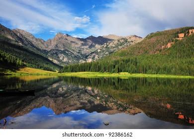 View of mountain lake /Piney Lake, Vail, Colorado