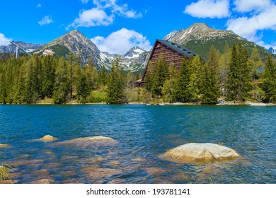 A view of a mountain lake in Strbske Pleso Lake in Slovakian Tatras, Slovakia