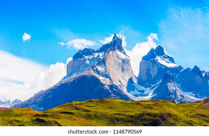 View of the mountain landscape in the national park Torres del Paine, Patagonia, Chile, South America. Copy space for text