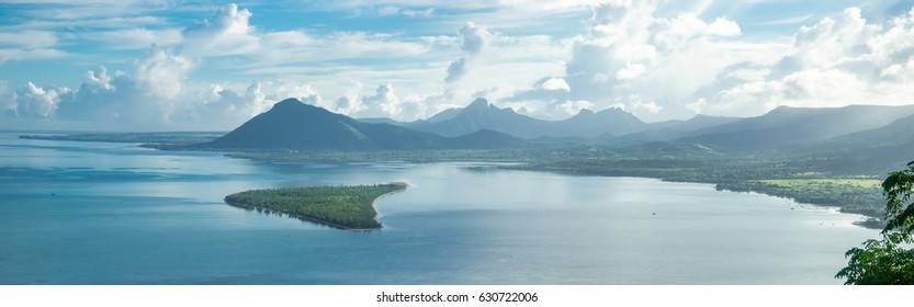 View from the mountain Le Morne Brabant on the blue lagoon. Mauritius. panorama