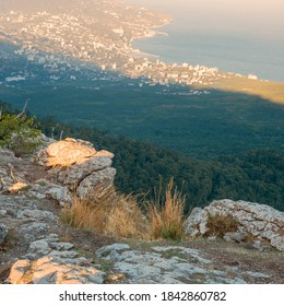 view from the mountain ledge to the resort town by the Black Sea. Russia