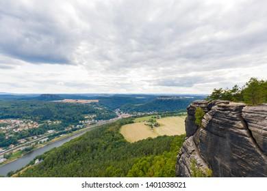 view from mountain lilienstein to königstein, saxon switzerland