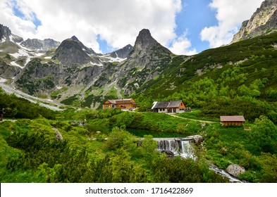 View of the mountain lodge at Zelene Pleso in the Tatra mountains in Slovakia
